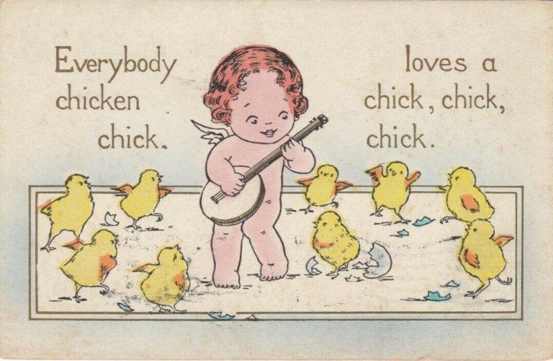 Cherub singing to chicks, PU-1914