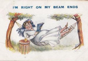 Swinging Summer Hammock Chair Beam Ends Antique Comic Humour Postcard