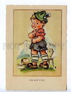 258930 GERMANY HB BEER Alpine Boy Vintage postcard