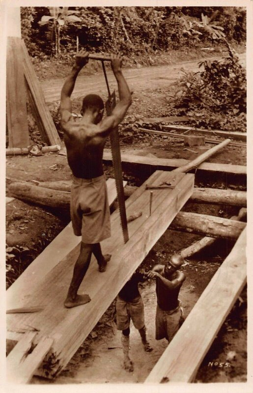 Ghana Gold Coast railway builders natives Postcard