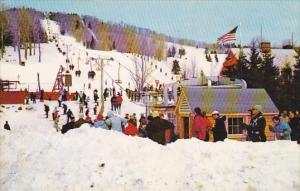 Skiers enjoying the snow at Bromley Mountain,  Manchester,  Vermont,  40-60s