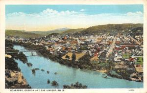 Roseburg Oregon~Panorama Across Umpqua River, Homes, Bridge, Downtown~1930