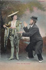 Lady With The Genie Lamp Antique Comic Humour Postcard