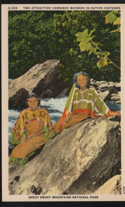 Color PC Cherokee Maidens Native Costumes Great Smoky Mountains Nat Park, Unused