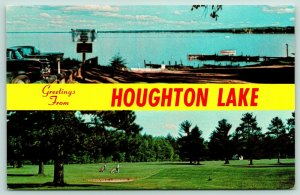 Houghton Lake Michigan~Pineview Golf Course Golfers~1950s Cars at Boat Dock~1962