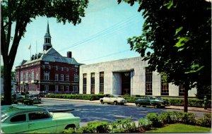 Concord, New Hampshire City Hall LIBRARY CARS AUTO -  CHROME VINTAGE  POSTCARD