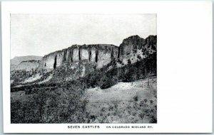 1900s COLORADO MIDLAND RAILWAY Postcard Seven Castles Rock Formation Unused