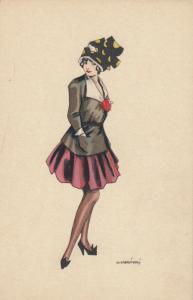 ART DECO ; Female in black jacket, short red skirt & polka dot hat, 1910-20s