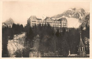 Vintage Postcard 1920's Caux Regina Hotel Et Les Rochers De Naye Switzerland