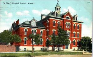 EMPORIA, KS Kansas      ST MARY'S HOSPITAL      1910      Postcard