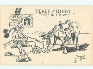 Pre-1952 Comic WESTERN COWBOY SLEEPING BESIDE HORSE AC6596