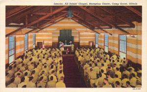 Camp Grant Illinois~Reception Cr~All Saints' Chapel Interior~Church Service~'40s