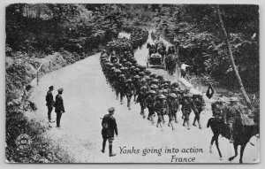 WWI France~Military~Yanks Going Into Action~Kavanaugh War Postal~1917 PC