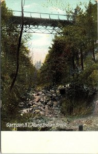 Postcard NY Garrison Along Indian Brook - Bridge - Hugh C. Leighton C. 1910 A3