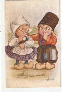 J. Ibañez. Dutch couple. Holandeses Humorous vintage Spanish postcard