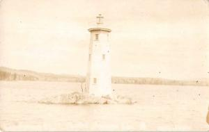 Small Island Lighthouse Scenic View Real Photo Antique Postcard J80547