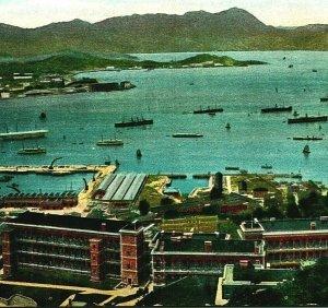 Hong Kong Chine Port Vue Neuf Naval Quai Coudée Oiseaux Eye 1910s Unp Postale
