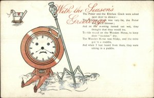 Fantasy The Poker & Kitchen Clock Poem Jarrolds Series 1807 - c1910 Postcard