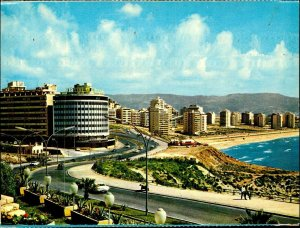 CI01332 lebanon beirut raouche district continental hotel bus mediteraneean sea
