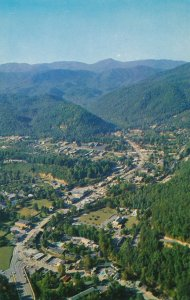 Aerial View of Gatlinburg TN, Tennessee - Entrance to Great Smoky Mountains