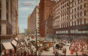 Chicago IL State St. Busy Day c1910 Postcard