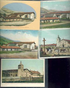 pc9001 postcard California Missions FIVE all MOBSC