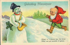 Happy New Year - Snowman and a Dwarf (Gnome) 02.87