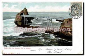 Old Postcard Biarritz The Rock Of The Virgin