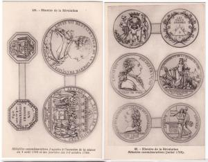 2 -Cards with Coins on, Revelution & Medailles Commemorative