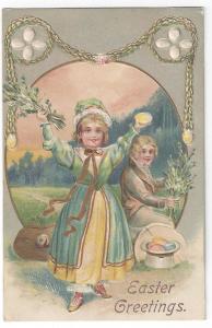 Vintage Easter Postcard Embossed Gilt Children Colonial Boy Pretty Girl Eggs