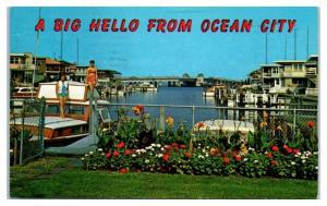 1963 A Big Hello from Ocean City, Snug Harbor, Ocean City, NJ Postcard