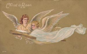 Angels flying, carrying a cross, gold background, 00-10s