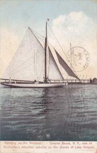 Sailboat on Genesee River Ontario Beach Charlotte Rochester New York pm 1909 UDB