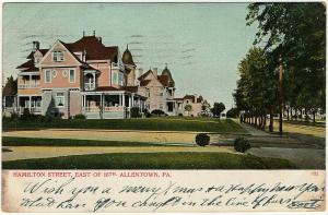 1907 Allentown PA Hamilton Street East of 16th St. Lehigh Co RARE UDB Postcard