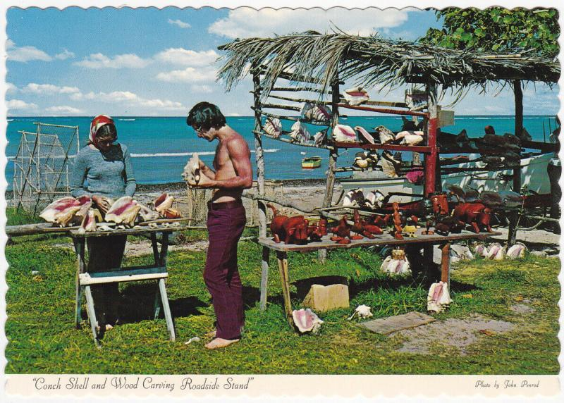 JAMAICA, 50-70s; Conch Shell and Wood Carving Roadside Stand
