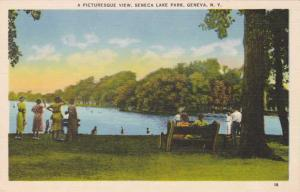 A Picturesque View in Seneca Lake Park - Geneva NY, New York - Linen
