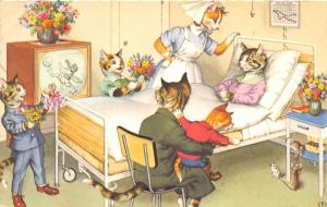 F60/ Alfred Mainzer Dressed Cats Postcard c1940s Hospital Bed Mice 21