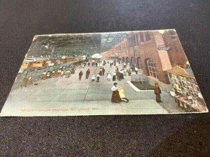 Postcard 1908 MIDWAY UNION RAILROAD STATION St. Louis MO pub. Knox