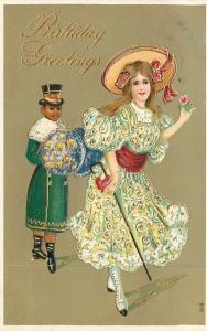Black Americana~Dashing Victorian Girl~Top Hat Servant Boy~Gold Leaf Emb~#616