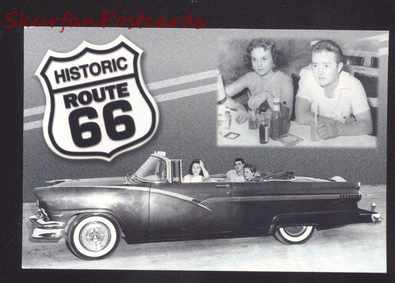HISTORIC ROUTE 66 1955 FORD SODA SHOP POSTCARD