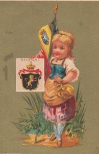 Trade Card (TC): Stamp & Girl carrying Flag , 1880-90s ; Belgium