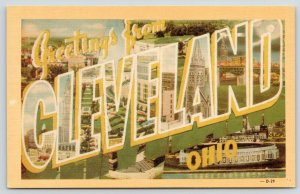 Cleveland Ohio~Memorial Stadium~1940s Dexter Large Letter Linen~Downtown~Church