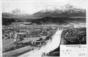 Gruss aus Innsbruck Austria Aerial View Ski Slope? Real Photo Postcard