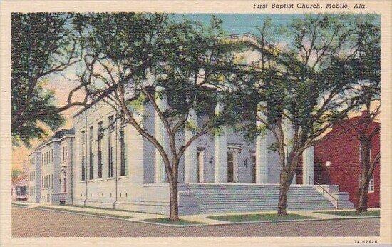 First Baptist Church Mobile Alabama Curteich