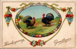 Thanksgiving~Turkeys in Fruit Flower Oval~Ribbons~Gold Leaf Emboss~Gottschalk