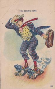 Roller Skating Salesman On Skates I'm Coming Soon 1909