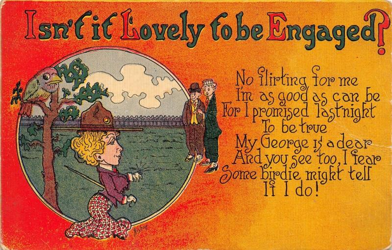 Bishop~Lovely to Be Engaged~No Flirting For Me~A Birdie Might Tell~Ring~1908 PC