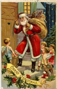 Greeting - Christmas. Santa Claus   Embossed