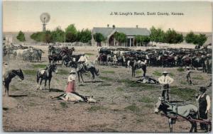 Scott City, Kansas Postcard J.W. Lough's Ranch, Scott County Farm Scene c1910s