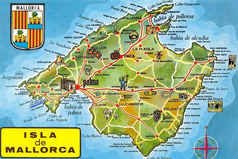 Map Of Spain And Mallorca.Spain Isla De Mallorca Map Inca La Puebla Arenal Lluchmayor